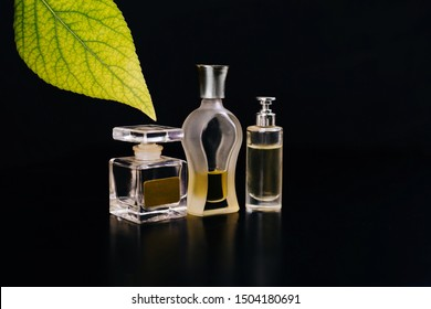 Three glass bottles with perfume on a black background. Green leaf. Aromas of freshness