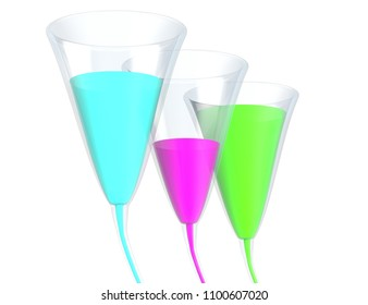 Three glass with color liquid isolated on white 3d illustration