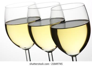 three glass of white wine