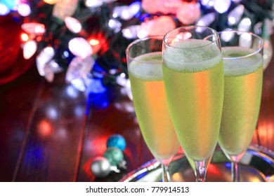 Three glasses of champagne to celebrate the New Year, anniversary or a birthday