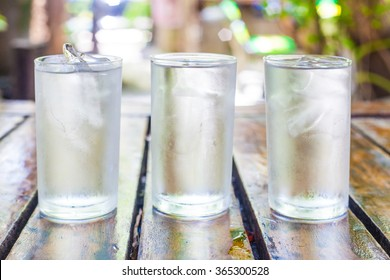 Three glasses of clean drinking water.