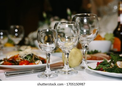 Three glasses on the table