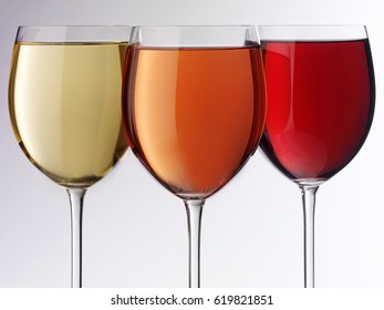 THREE GLASSES OF RED,WHITE AND ROSE WINE