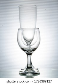 Three glasses in a row, west jakarta, indonesia, 28 february 2020