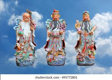 Three gods of Chinese people isolated on cloud sky background, Hock Lok Siew or Fu Lu Shou