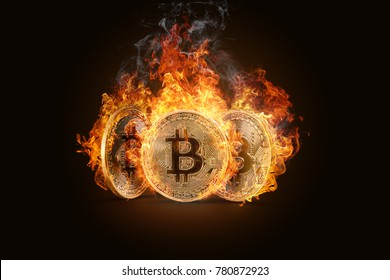 Three Golden Coins Bitcoin burning in a fiery flame on a dark background. Electronic money, the burning of crypto currency.