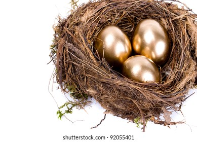 Three golden eggs in the nest isolated on white background