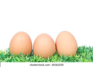 three golden eggs on grass
