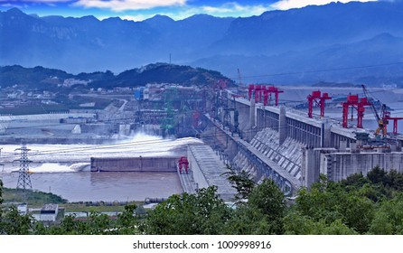 The Three Gorges Dam on the Yangtze River in China, on a poor air quality day.