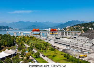 Three Gorges Dam, Xiling gorge, China, October 10, 2018, View of the ship lifts and shipping channels at the Three gorges Dam