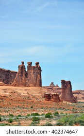 Three gossips and Sheep rock, Arches National Park, Utah, USA