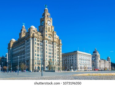 Three Graces buildings in Liverpool, England