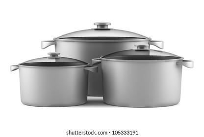 three gray cooking pans isolated on white background
