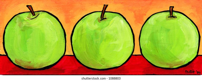 Three green apples, illustration painting