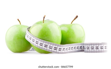 Three green apples and meter on white background