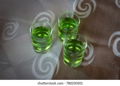 Three green chacha shots