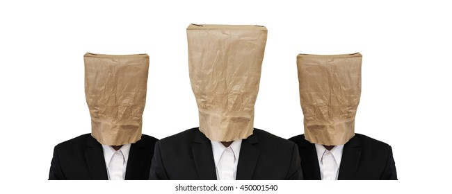 Three guy in suit with brown paper bag on head
