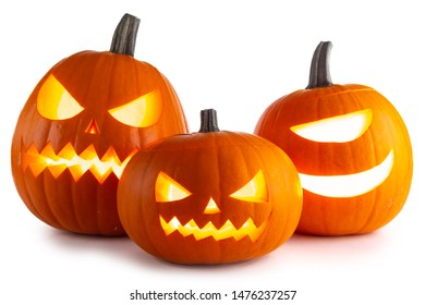 Three Halloween lantern Pumpkins isolated on white background