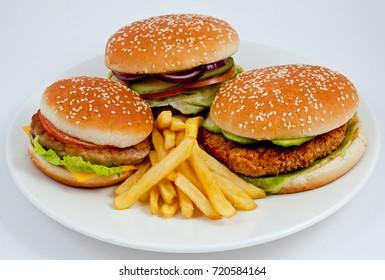 Three hamburgers with french fries