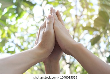 Three hand up of people working assemble corporate meeting show symbol Join forces teamwork quality and effective personnel Concept organizational development in teamwork and business