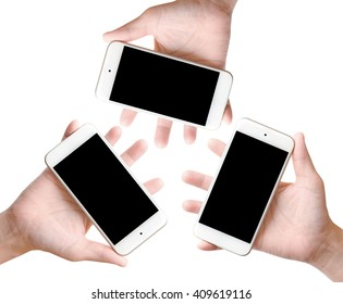 Three Hands with mobile smart phone on white background