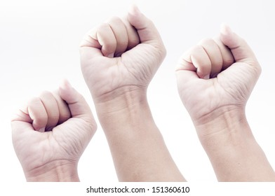 three Hands showing victory with a fist,isolated on white