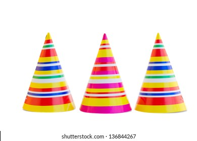 three hats for birthday party isolated on white background