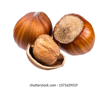 Three hazelnuts and a nutshell. Isolated picture.