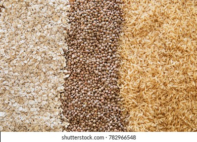 Three healthy products: brown rice, lentils, and oats as a food background.
