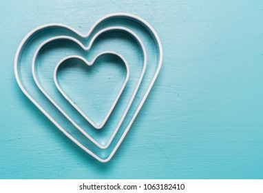 Three Heart Cookie Cutters With Copy Space to right