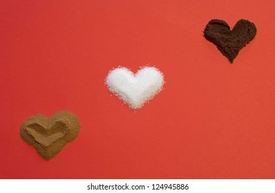Three hearts. Ground coffee and sugar.