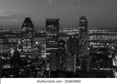 The Three Highest buildings of Montreal (At Night) in black and white,view from the mountain of Mont-Royal.