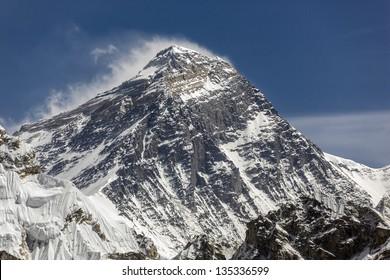 Three highest peak of the world mount Everest (8848 m). View from Gokyo Ri peak - Nepal, Himalayas