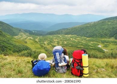 three hikers on rest