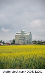 Three Hills, Alberta - July 4, 2021: Old Alberta Wheat Pool grain elevator in Trochu, Alberta.