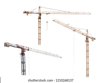 three hoisting cranes isolated on white background