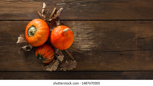 Three hokkaido pumpkins with dry autumn leaves and cinnamon sticks on wooden background with copy space
