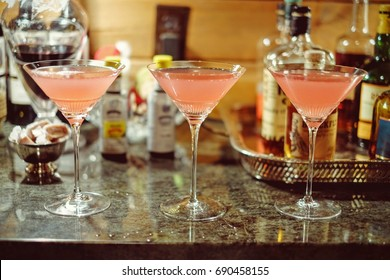 Three home made cosmopolitan cocktails