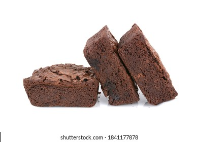 three homemade baked brownies isolated white background food concept