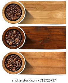 Three horizontal web banners with roasted coffee beans, wooden background and copy space. Isolated on white