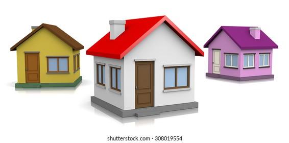 Three Houses on White Background 3D Illustration