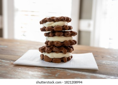 Three Ice Cream Sandwiches Made from  Tiny Waffles