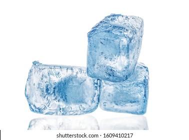 Three ice cubes close up isolated on white background