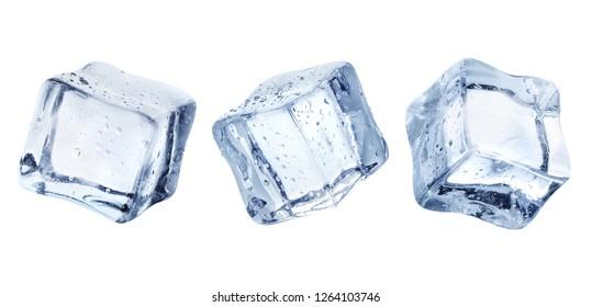 Three ice cubes, isolated on white background