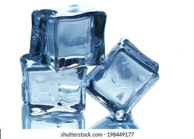 Three ice cubes on white background