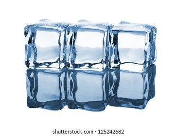 Three ice cubes in row with reflection on white background