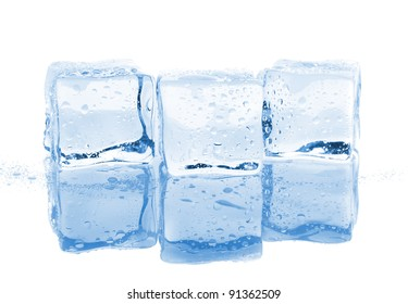 Three ice cubes with water drops isolated on white