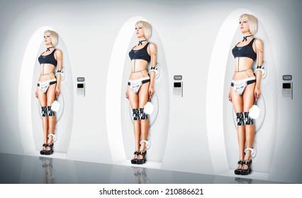 Three identical Female cyborg suit sexy maid. Robotic servants charging