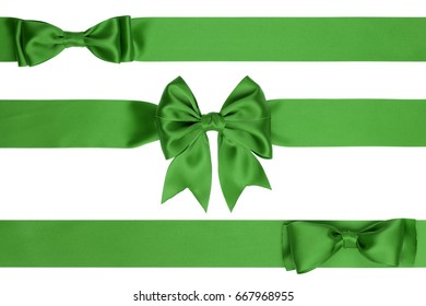 Three identical green bow for decorating gifts on white background