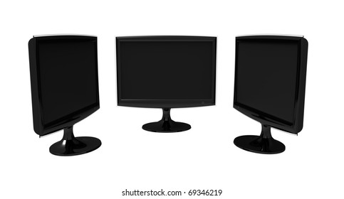 Three identical large-format monitors black on a white background
